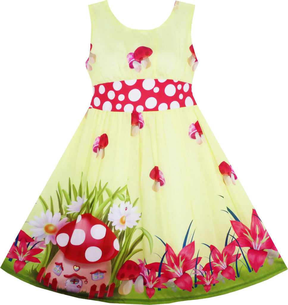 Girls Dress Mushroom Flower Grass Print Polka Dot Belt Yellow Size 4-12 Years