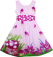 Girls Dress Mushroom Flower Grass Print Polka Dot Belt Purple Size 4-12 Years