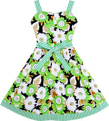Girls Dress Sleeveless Flower Pattern Bow Tie Striped Trim Size 4-12 Years