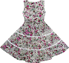Girls Dress V-Neck Lace Trim Flower Leaves Print Size 4-10 Years