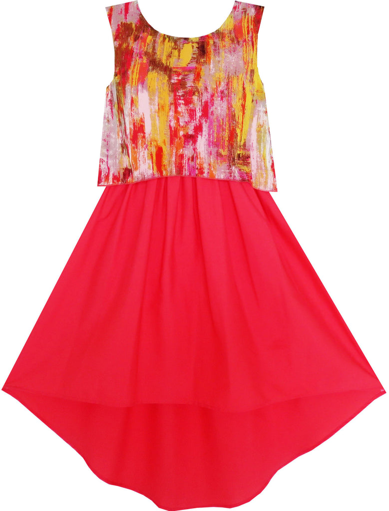 Girls Dress Turn-Down Collar Flower Chiffon Party Red Size 7-14 Years