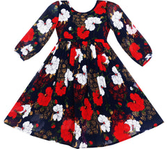 Girls Dress O-Neck Sleeve Elegant Drawing Begonia Flower Size 7-14 Years