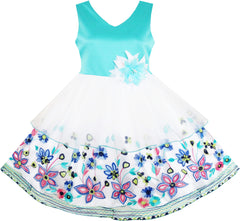 Girls Dress Elegant Princess Wedding Embroidered Flower Tulle Size 4-10 Years