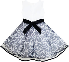 Girls Dress Sleeveless Tulle Paisley Pattern Pearl Bow Tie Stripe Size 4-10 Years