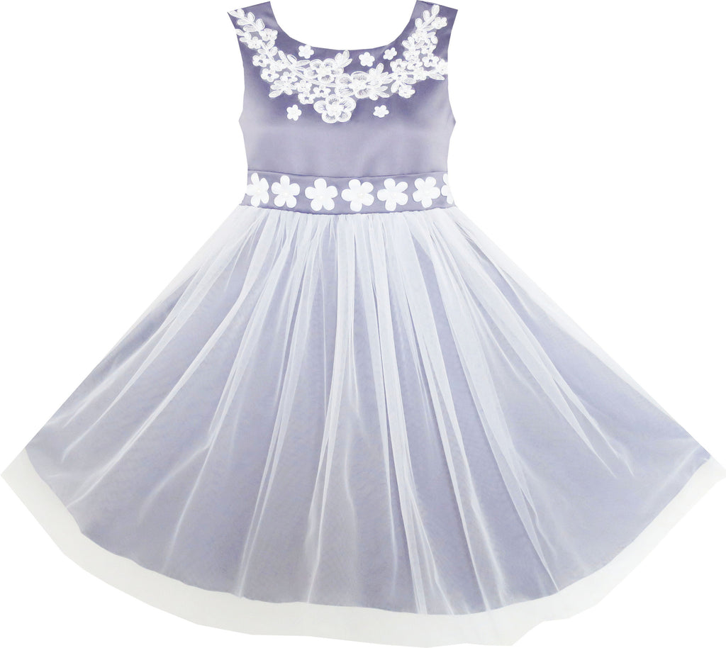 Girls Dress Sleeveless Embroidered Flower Tulle Overlay Grey Size 7-14 Years