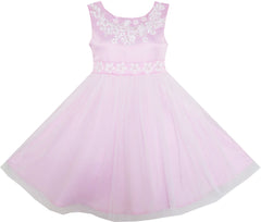 Girls Dress Sleeveless Embroidered Flower Tulle Overlay Pink Size 7-14 Years