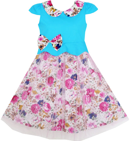 Girls Dress Turn-Down Collar Flower Detailing Tulle Overlay Size 4-10 Years