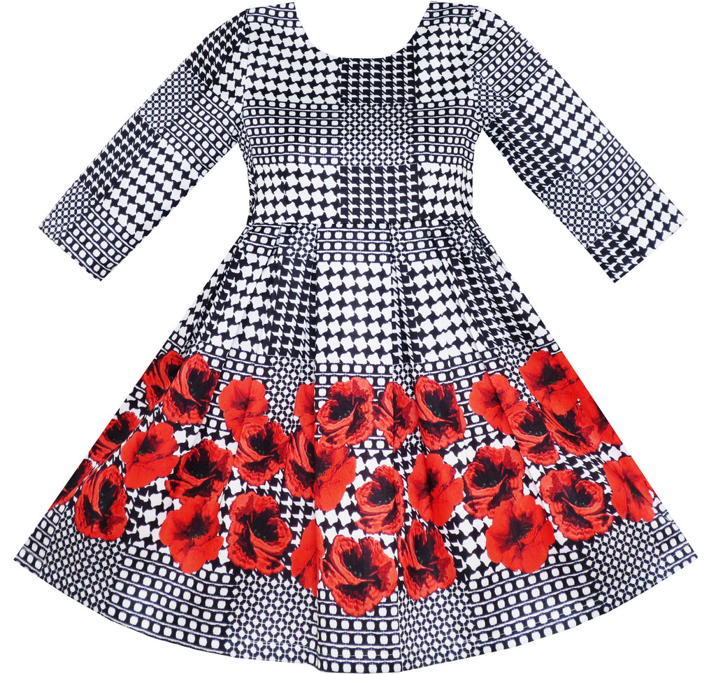 Girls Dress 3/4 Sleeve Elegant Black Checkered Red Flower Size 7-14 Years
