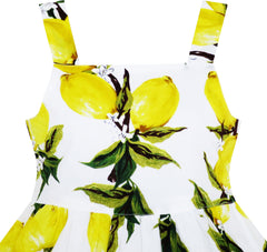Girls Dress Sleeveless Fruit Yellow Lemon Green Leave Size 4-10 Years