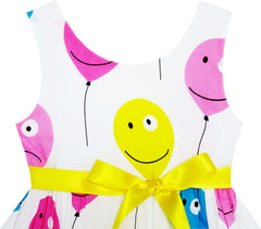 Girls Dress Colorful Smiley Face Balloon Flying To Sky Size 2-6 Years