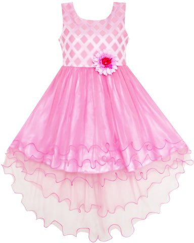 Girls Dress Hi-lo Maxi Princess Tulle Overlay Party Pink Size 7-14 Years