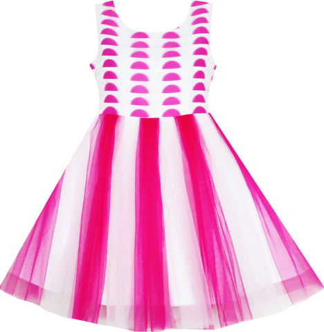 Girls Dress Tulle Overlay Princess Party Wedding Pageant Size 7-14 Years