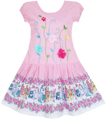 Girls Dress Embroidered Leaves Flower O-Neck Cotton Pink Size 7-14 Years