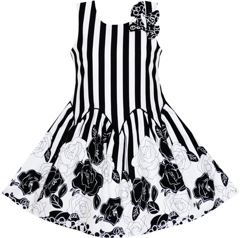 Girls Dress Sleeveless Black White Stripes Flower Bow Tie Size 7-14 Years
