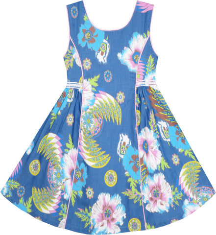 Girls Dress Sleeveless Denim Floral Print Flower Detailing Size 4-10 Years