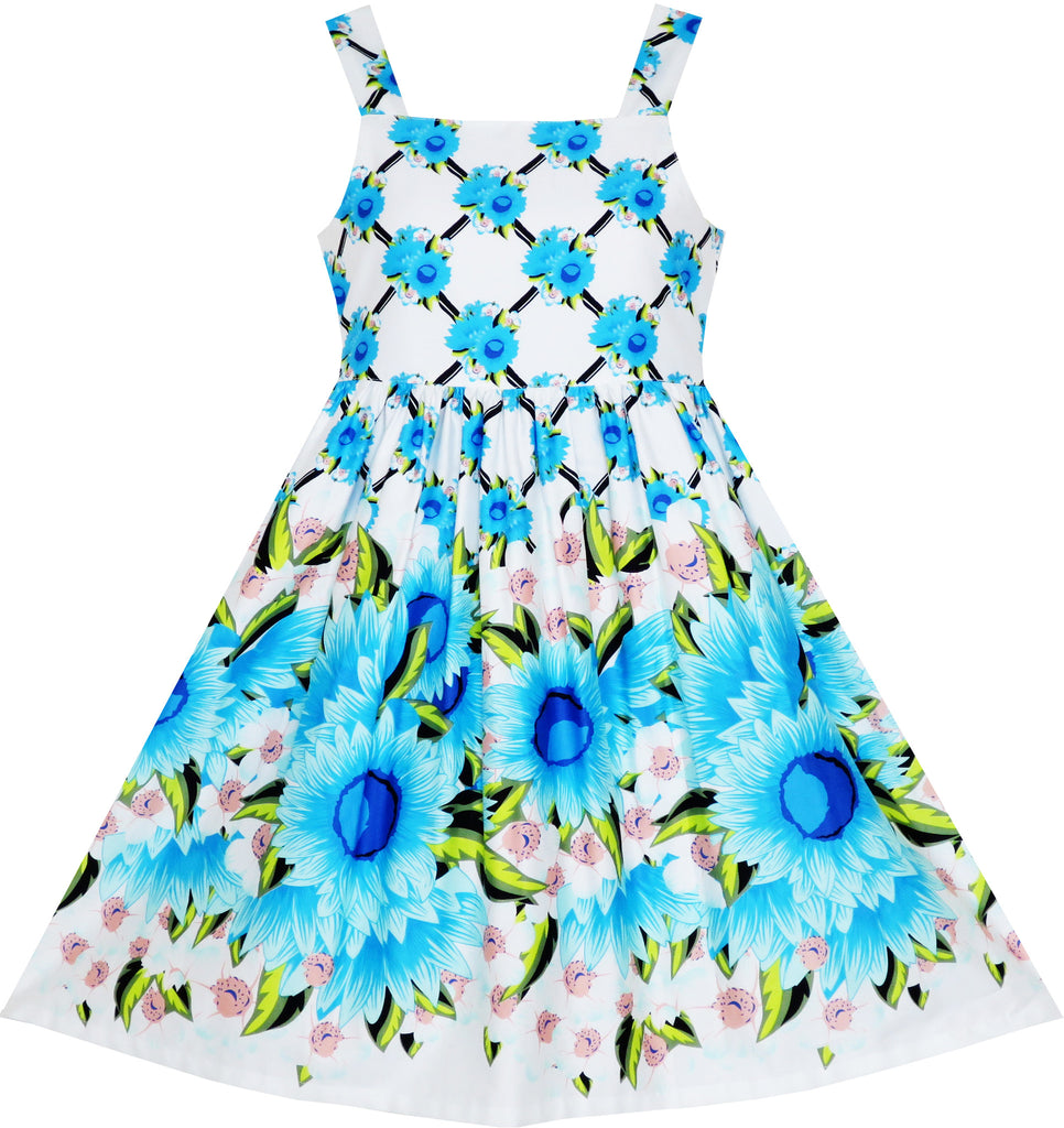 Girls Dress Sleeveless Halter Blue Sunflower Party Princess Size 4-10 Years