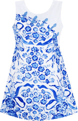 Girls Dress Blue White Porcelain Floral Printed Knot Button Size 7-14 Years