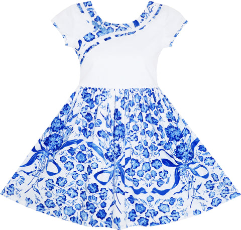 Girls Dress Blue White Porcelain Floral Printed Pageant Holiday Size 4-10 Years