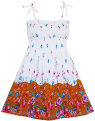 Girls Dress Smocked Halter Floral Printed Size 2-10 Years