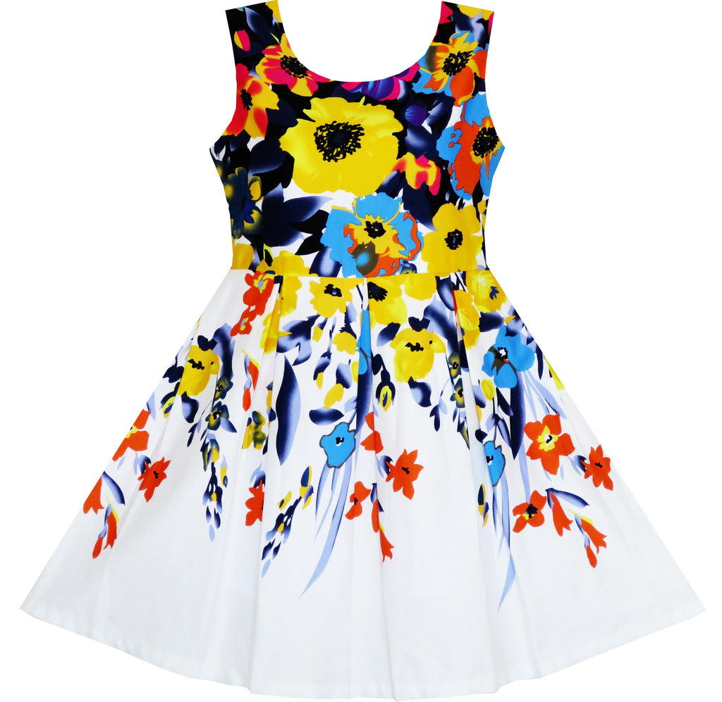 Girls Dress Elegant Princess Colorful Blooming Flower Size 4-10 Years