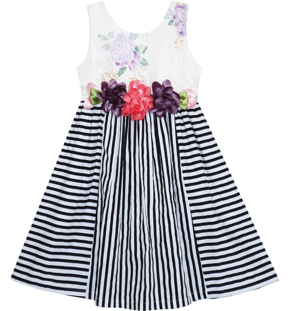 Girls Dress Sleeveless Stripes Floral Printed Flower Waist Size 4-12 Years
