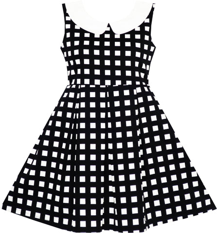 Girls Dress Turn-Down Collar Checkered Black White Summer School Size 7-14 Years