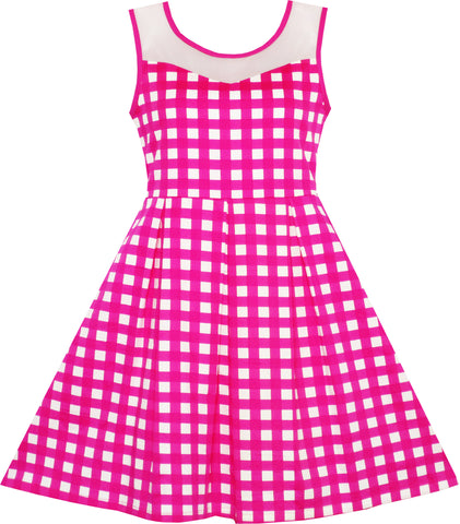 Girls Dress Transparent Shoulder Checkered Plaid Hot Pink Party Size 7-14 Years
