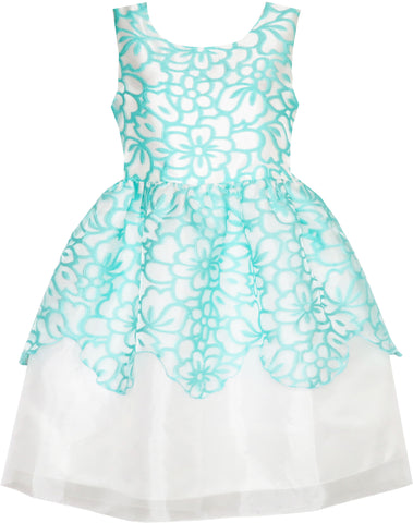 Flower Girl Dress Damask Jacquard Organza Tulle Wedding Pageant Princess Size 4-10 Years