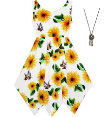 Girls Dress Sunflower Butterfly Hanky Hem Party Beach Necklace Size 7-14 Years