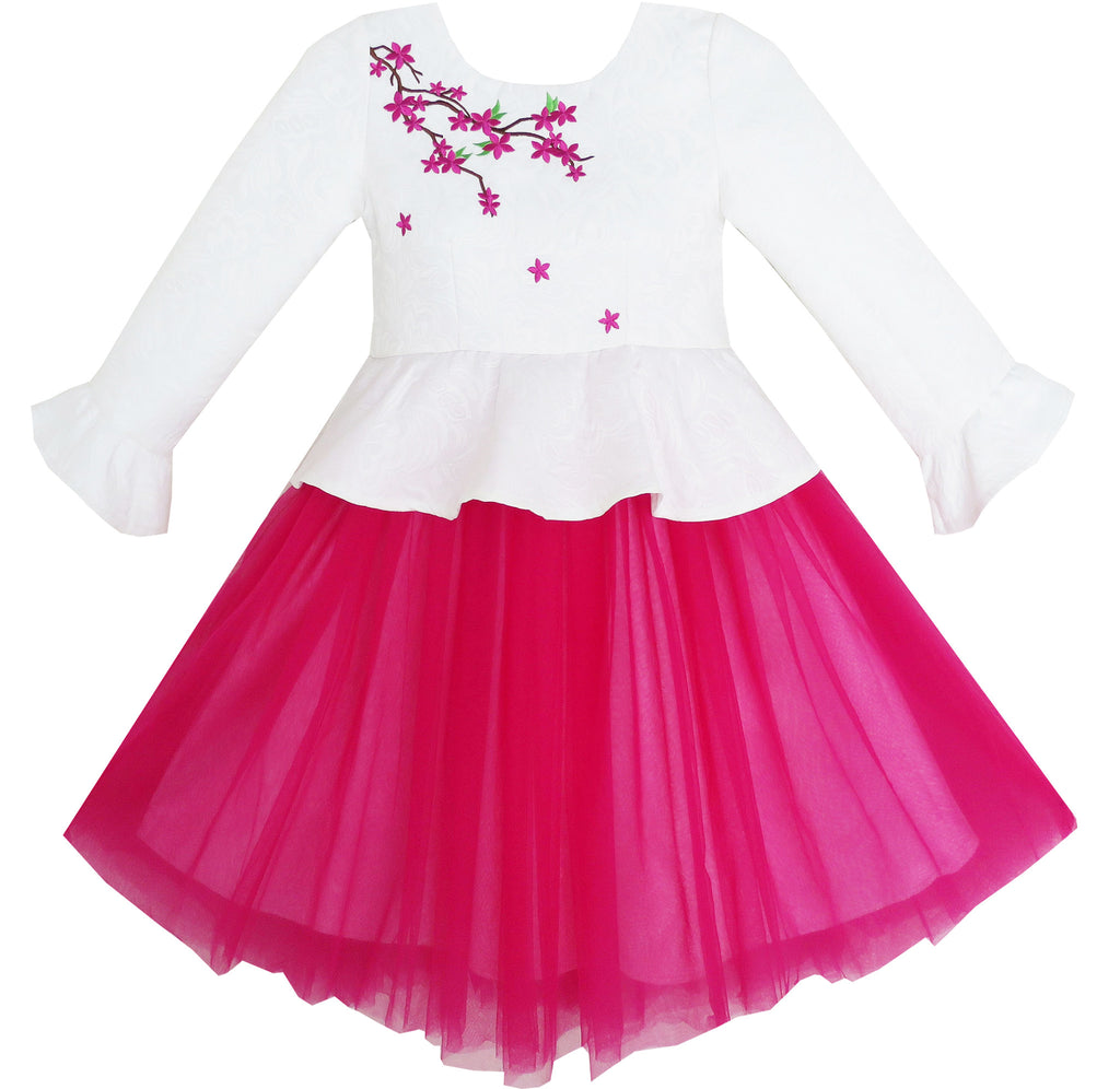 Girls Dress 3/4 Sleeve Floral Flounced Skirt 2-in-1 Set Princess Size 7-14 Years