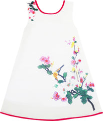 Girls Dress Retro Chinese Drawing Style Bird Floral Tree Beach Size 7-14 Years