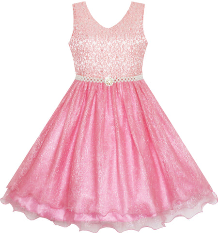 Flower Girl Dress Sparkling Pearl Belt Shrimp Pink Wedding Bridesmaid Size 3-14 Years