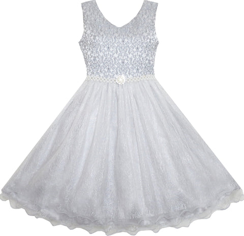 Flower Girl Dress Sparkling Pearl Belt Gray Wedding Bridesmaid Pageant Size 3-14 Years