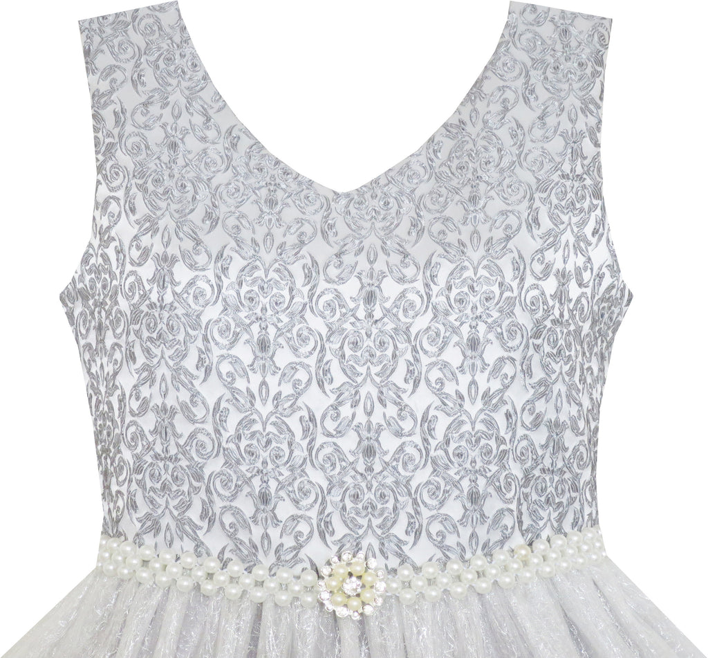 224c8469f ... Flower Girl Dress Sparkling Pearl Belt Gray Wedding Bridesmaid Pageant  Size 3-14 Years
