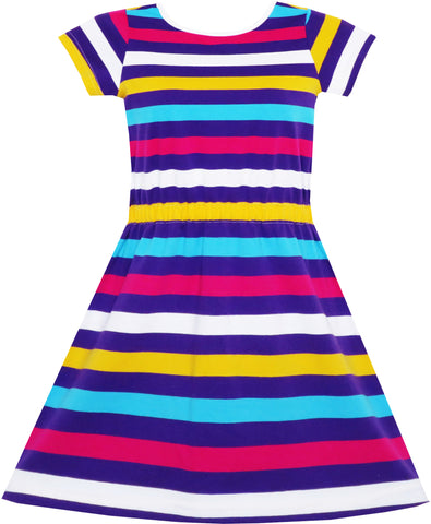 Girls Dress Colorful Striped Knitted Cotton Stretch School Size 4-10 Years
