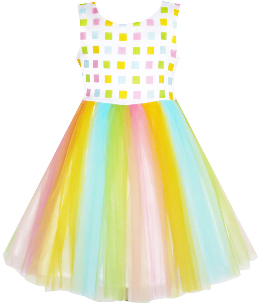 Girls Dress Tulle Rainbow Party Wedding Pageant Birthday Size 2-6 Years