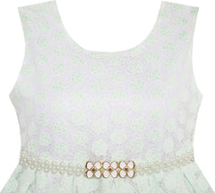 Girls Dress Floral Lace Jeweled Pearl Belt Princess Pageant Party Size 4-14 Years