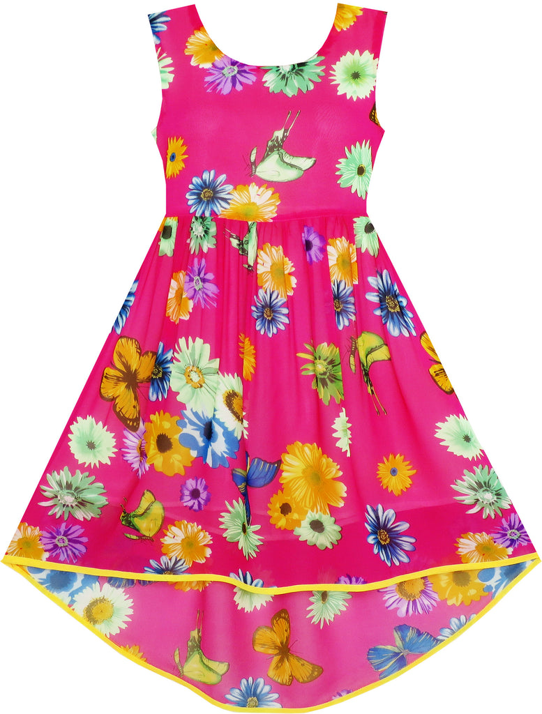 Girls Dress Hi-lo Maxi Chiffon Butterfly Flower Party Evening Size 7-14 Years