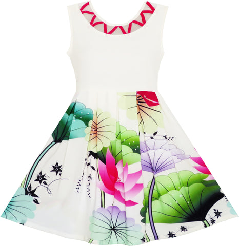 Flower Girl Dress Elegant Drawing Lotus Leaves Star Party Birthday Size 7-14 Years