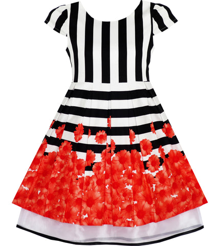 Girls Dress Black White Striped Red Flower Organza Hem Party Size 7-14 Years