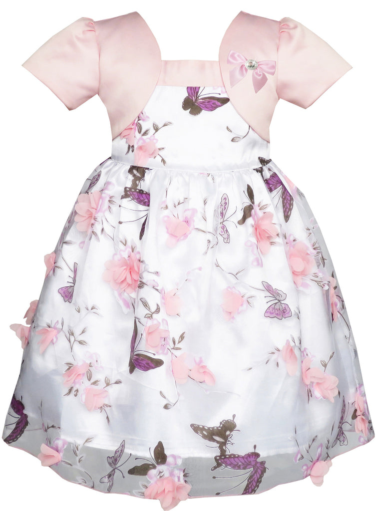 2-in-1 Flower Girls Dress Dimensional Butterfly Pageant Party Size 12M-5 Years