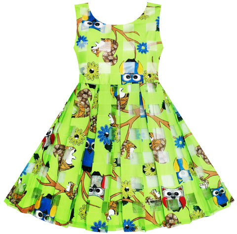 Girls Illusion Checkered Organza Dress Owl Squirrel Print Cute Party Size 2-6 Years