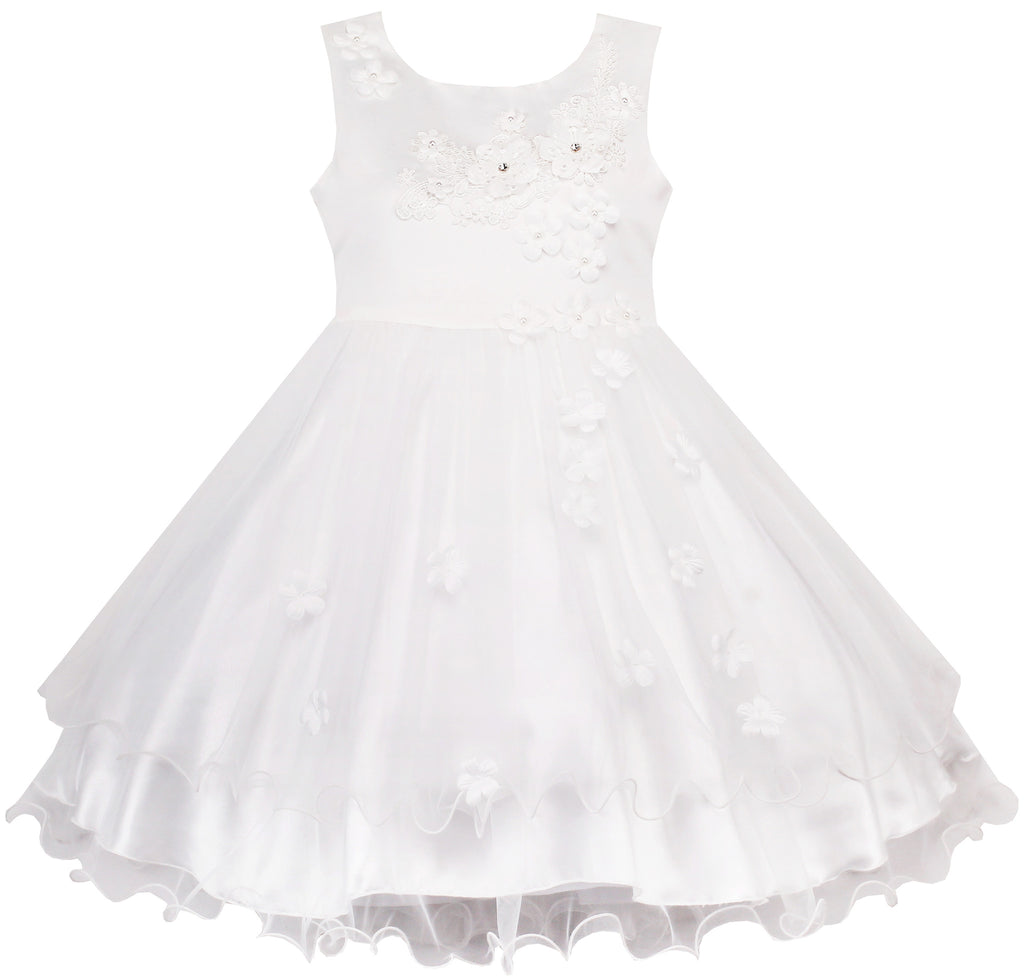 Flower Girls Dress White Wedding Pageant Bridesmaid Gown – Sunny Fashion