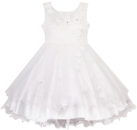 Flower Girls Dress White Wedding Pageant Bridesmaid Gown Size 3-10 Years