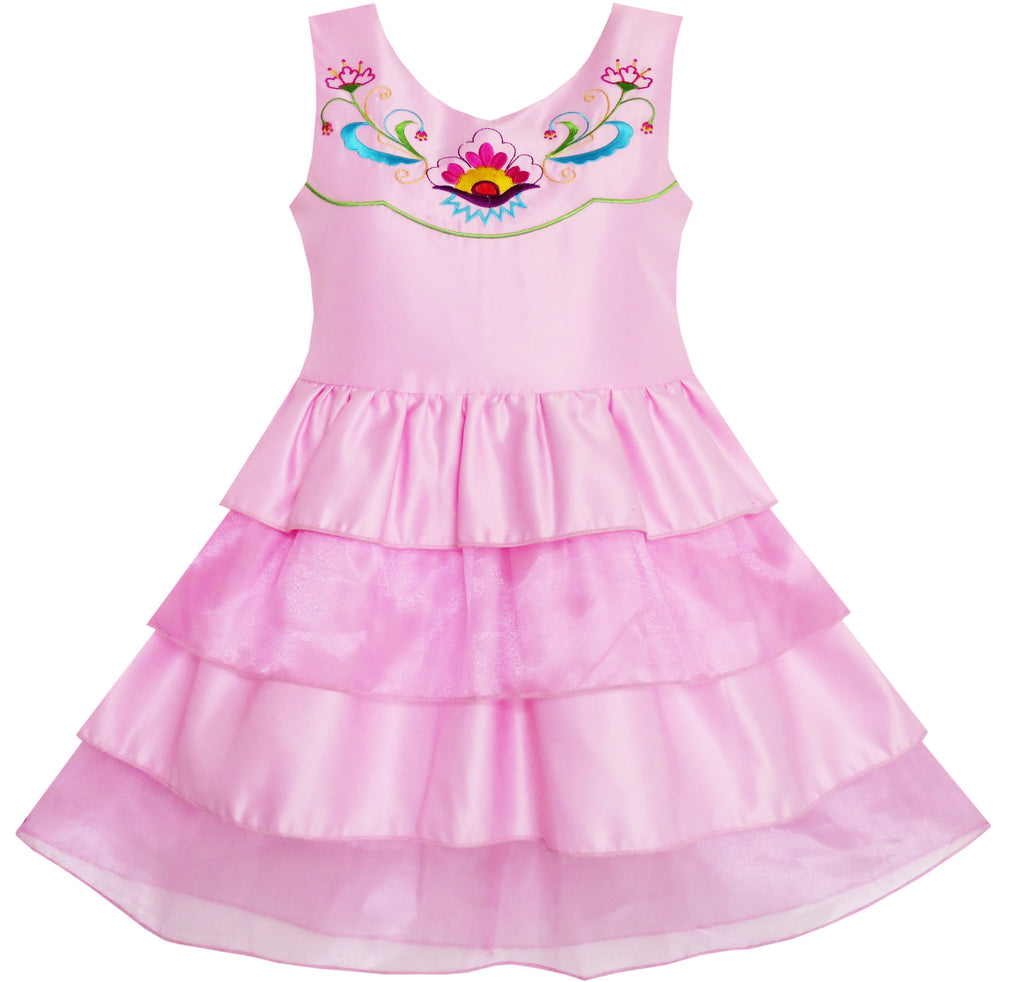 Girls Dress Embroidered Flower Tiered Cake Party Birthday Size 4-10 Years