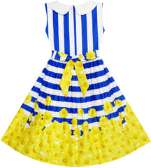 Girls Dress Navy Blue Striped Collar School Size 7-14 Years