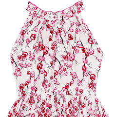 Girls Plum Flower Print Dress With Ice Cream Handbag Size 4-8 Years