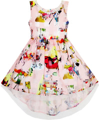 Girls Hi-Lo Dress Checkered Tulle Pearl Necklace Princess Pageant Size 7-14 Years