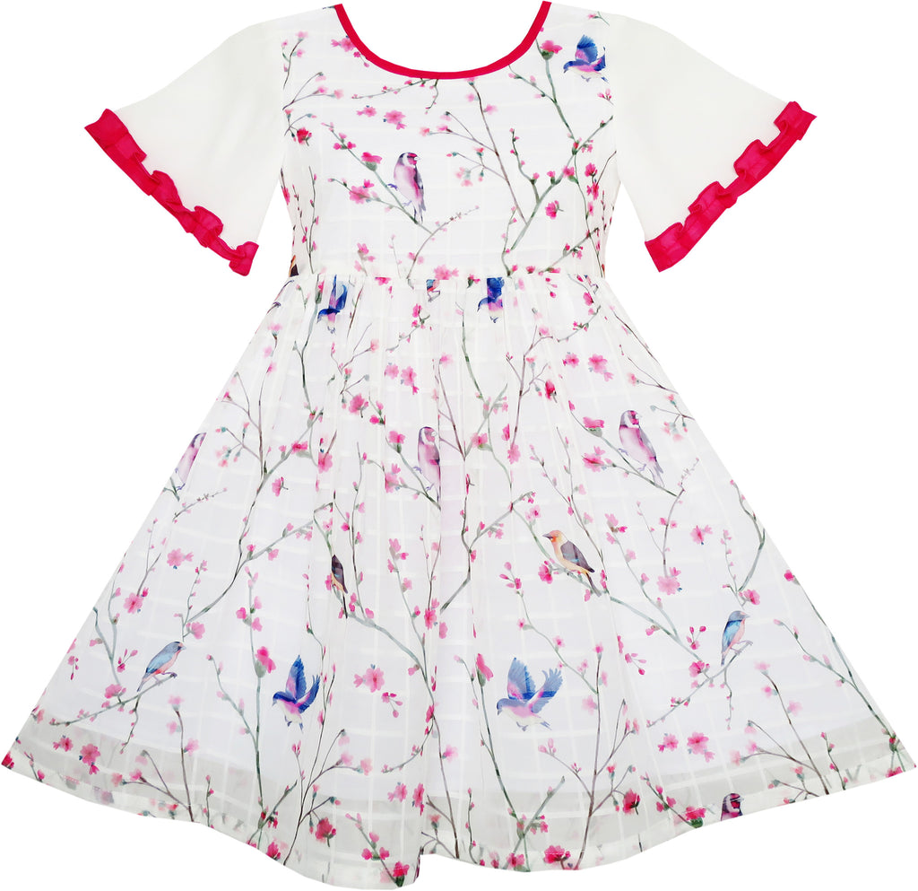 Girls Dress Flutter Sleeve Birds Print Princess Size 7-14 Years