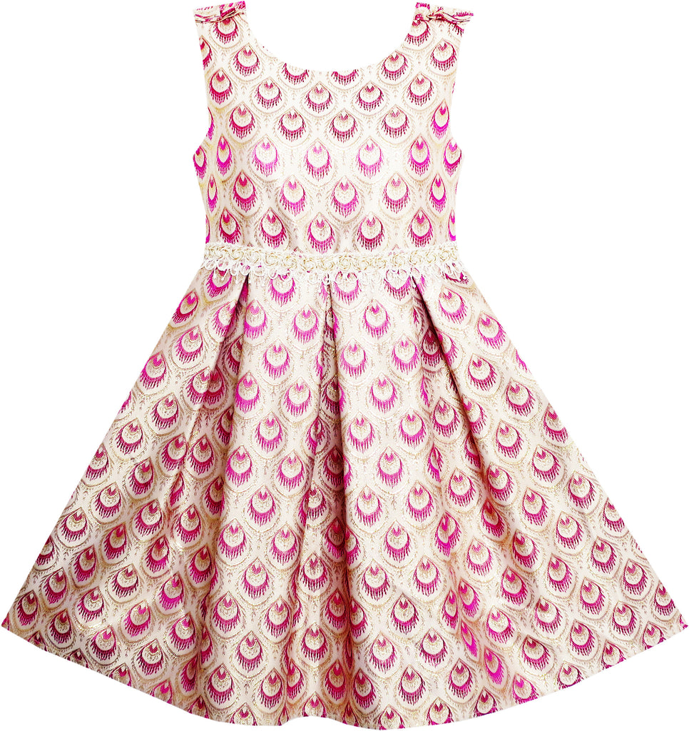 Girls Fit Flare Dress Jacquard Gold Satin Princess Size 4-10 Years
